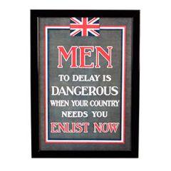 WW1 British Men to Delay is Dangerous Framed Print