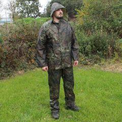 Jacket and Trousers Waterproofs Set - Flecktarn Camo - Hood Up