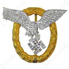 WW2 German Metal Luftwaffe Pilot Observer Badge with Diamonds