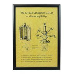 German Bouncing Betty Mine Framed Blueprint - Thumbnail