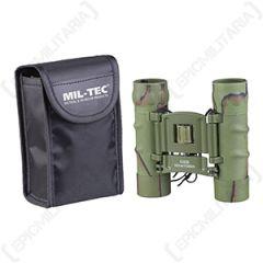 10 x 25 Foldable Binoculars with Case - Green Camo