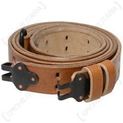 Front view of light brown leather M1 Garand Sling with black metal ends