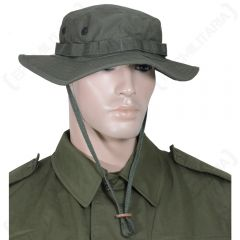 Front view of mannequin head wearing US Olive Green Jungle Boonie Hat and olive shirt