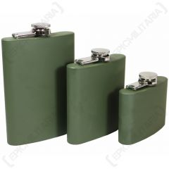 Stainless Steel Hip Flask - Olive Green