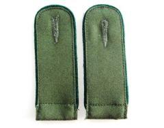 DAK Afrika Korps EM Shoulder Boards - Dark Green Piped (Grenadier) - Imperfect (Bad Backing Colour)
