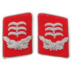 Luftwaffe Flak Division Hauptmann Collar Tabs - Red