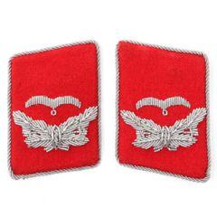 Luftwaffe Flak Division Leutnant Collar Tabs - Red