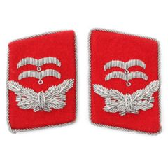 Luftwaffe Flak Division Oberleutnant Collar Tabs - Red