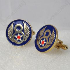 Pair of US 8th Airforce brass-coloured Cufflinks showing gold 8 with wings and white star on dark blue background