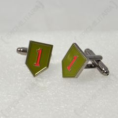 Pair of shield shaped WW2 American 1st Infantry Division Cufflinks, olive green with red number 1's in the middle, facing left