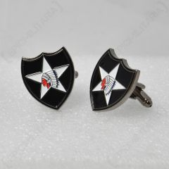 WW2 style Indian head 2nd infantry us cufflinks facing left