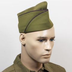 WW2 US PX Type Garrison Cap - Maroon and White Piped Thumbnail