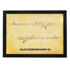 MG 34 Machine Gun Framed Blueprint Thumbnail