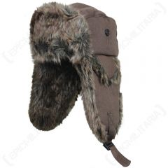 Fur and Brown Canvas Hats