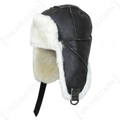 Side view of dark brown USAF B3 Pilot Leather Hat with white fur lining