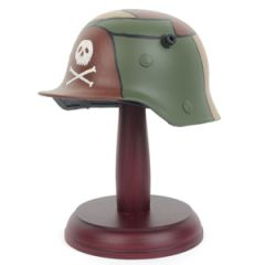 Miniature German M16 Helmet with Stand - 3 Colour Camo with Skull Thumbnail