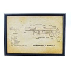 German MP40 Submachine Gun Framed Blueprint Thumbnail
