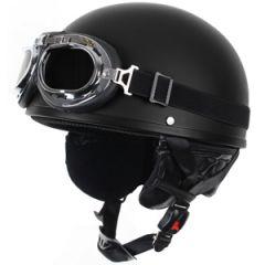 Open Helmet with Goggles - Black 2