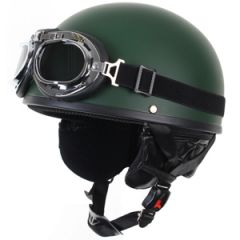Open Helmet with Goggles - Olive 1