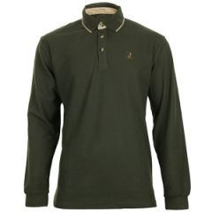 Percussion Long-Sleeve Polo Shirt - Olive