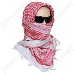 Shemagh Headscarf - White and Red