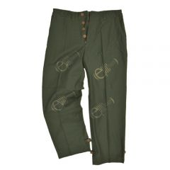 Front of pair of button up, dark green American M43 Trousers