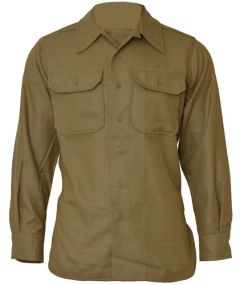 Front view of buttoned-up khaki American M37 Wool Shirt with two front chest pockets