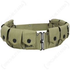 Front view of olive green canvas M1923 Garand Cartridge Belt with 10 pouches each with black popper style button closures