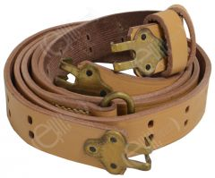 Rolled up light brown leather BAR sling with brass-coloured clips