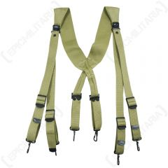 Front view of canvas khaki webbing suspenders with black clips