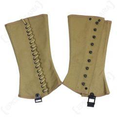 Pair of khaki coloured M1938 Canvas gaiter-style leggings