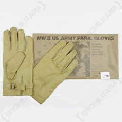 Top view of pair of cream coloured American WW2 Paratrooper Gloves with paper packaging