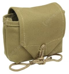 Side view of a khaki canvas US Airborne rigger pouch with a khaki rope tie closure