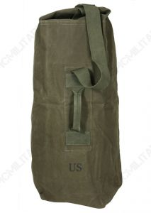 Front of olive green US Army upright duffel bag with green canvas strap and handle. US stamped underneath the handle.