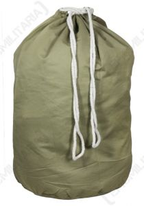 Olive green upright US Army Barrack Bag with white drawstring closure