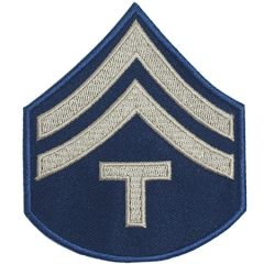 Blue Technician/5th Grade Rank Badge with two silver coloured stripes and the letter T underneath