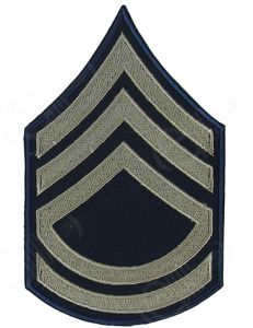 Blue Technical Sergeant Rank Badge with silver detail