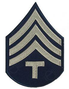 Dark blue Technician/4th Grade Rank Badge with silver detail