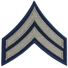 Dark blue Corporal Rank Badge with silver detail
