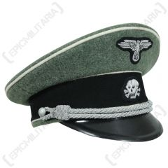 WW2 German Waffen SS Officer Visor Cap - Field Grey