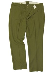 Front view of green American M37 Wool Trousers with 5 brass coloured button fly