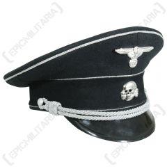 Allgemeine SS General's Black Visor Cap With Silver Braid