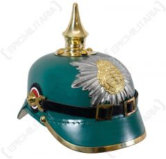 WW1 Saxony Green Leather Pickelhaube