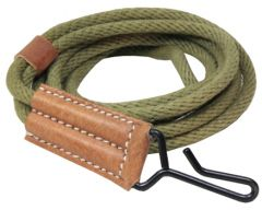 Rolled up olive green US Colt .45 Pistol Lanyard with light brown leather end