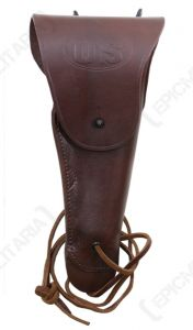 Front view of dark brown leather US M1916 Colt Pistol Holster