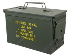 Side view of dark green rectangular US M2A1 .50 Cal Ammo Can with yellow text on the side