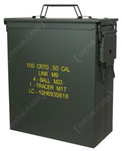 Side view of dark green, rectangular US M9 Large .50 Cal Ammo Can with yellow text on the side