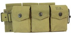Side view of M1942 BAR Ammo Belt with 6 pouches, each with popper style button closures.