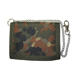 Flecktarn Camouflage Wallet with Security Chain