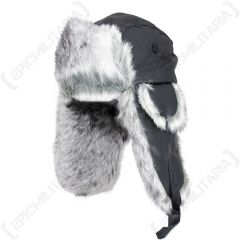 Fur and Black Leather Winter Hats